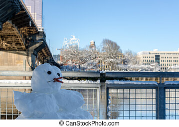 Cigarette Smoking Snowman - Cigarette smoking snowman on the...