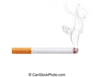 cigarette - Smoking cigarette isolated on white background