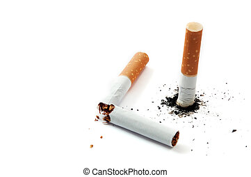 cigarette stub and broked cigarette on white