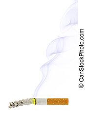 Cigarette stub and smoke
