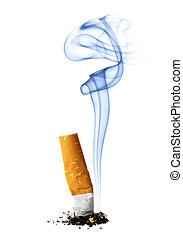 Cigarette stub with smoke