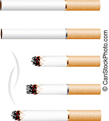 Cigarette - The cigarette and smoke stub isolated on white...
