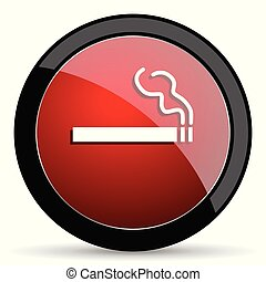 Cigarette vector icon. Modern design red and black glossy web and mobile applications button in eps 10