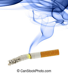 Cigarette with ash and smoke
