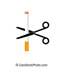 cigarette with scisors color illustration on white...