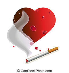 Cigarette with smoke and heart - Cigarette with smoke and...