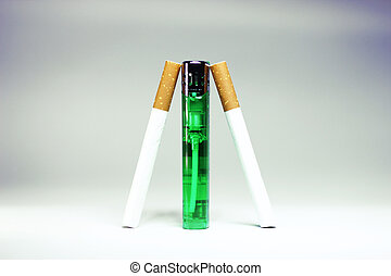 Cigarette wtih green lighter isolated