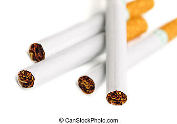 A group of cigarettes isolated on a white background.