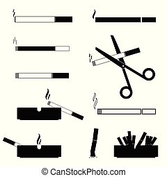 cigarettes and ashtrays vector symbol black and white illustration
