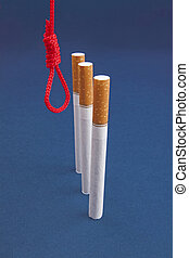 Cigarettes and hanging rope on blue background