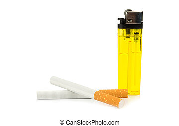 Cigarettes and lighter isolated on white background