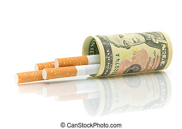 Cigarettes and money closeup on a white background. The concept - expensive habits.