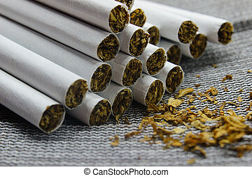 Cigarettes close-up on a gray background