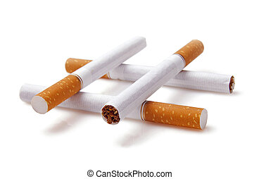 Cigarettes closeup isolated on white