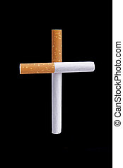 Cigarettes cross metaphor on blue background