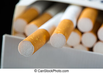 Cigarettes in pack - Close-up of cigarettes in pack