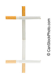 cigarettes in the form of a cross on a white background