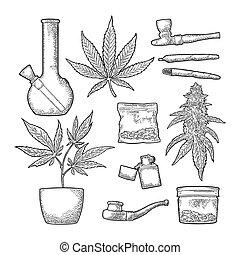 Set Marijuana. Cigarettes, pipe, lighter, buds, leaves, bottle, cigarette, glass jar, plastic bag, pipe for smoking cannabis. Vintage black vector engraving illustration. Isolated on white background