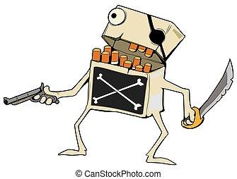 Cigarettes Pirate Cartoon, Color - Cigarette Pirate ...