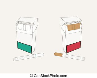 cigarettes pocket, sketch vector.