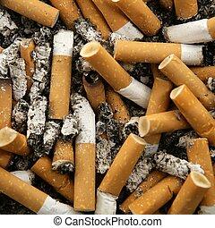 cigarettes texture, busy ashtray square still shot