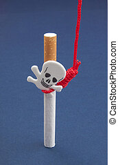 Cigarettes with scull and hanging rope on blue background ...