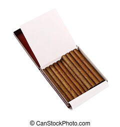 Cigarillos in box isolated on white