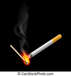 Cigarrette with burning match