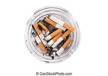 cigarretter, närbild, fyllda, askkopp