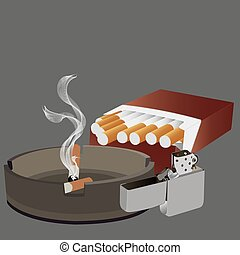 cigarretter, tändare, askkopp