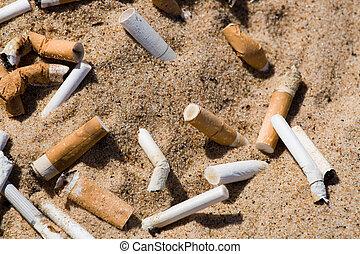 cigarrillo, arena, butt