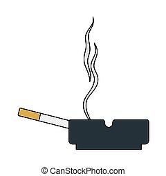 cigarrillo, cenicero, icono