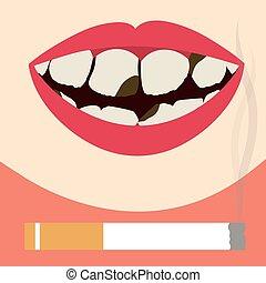 cigarrillo, dañado, dientes