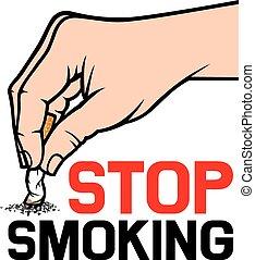 cigarrillo, extinguir, mano