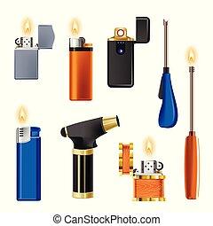 cigarrillo, fuego, aislado, llama, equipo, encendedor, dispositivo, fumar, o