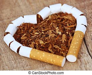 cigarrillo, hojas, secado, tabaco