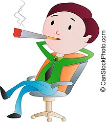 cigarrillo humeante, ilustración, hombre