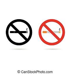 cigarrillo, no, ilustración, señal