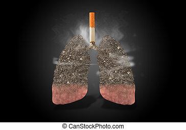cigarrillo, pulmones, lleno, de, ceniza, concepto