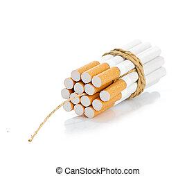 cigarrillos, atado, con, soga, y, mecha