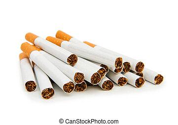 cigarrillos, blanco, aislado, plano de fondo, fumar