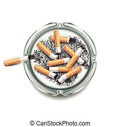 cigarrillos, blanco, vector, aislado, cenicero