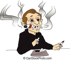 cigarrillos, cigar., vector, hombre fumar
