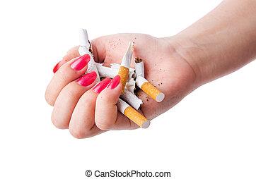 cigarrillos, concepto, antismoking, mano