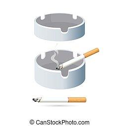 cigarrillos, dos, aislado, fondo., blanco, ceniceros