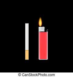cigarrillos, vector, ilustración, encendedor