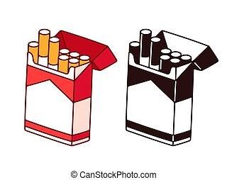 cigarro, abertos, pacote