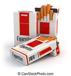 cigarro, branca, isolado, fundo, pacote