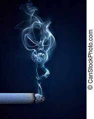 cigarro, com, fumaça, em, a, forma, de, um, cranio