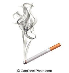 cigarro, escuro, fumaça, fundo